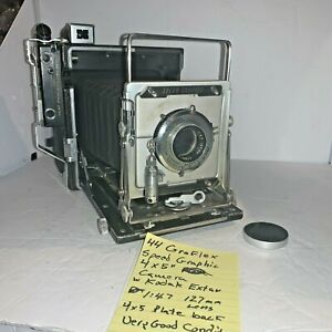 "# 44 Graflex Speed Graphic 4"" x 5"" Camera with Kodak Ektar 127mm 1:4.7 Lens"