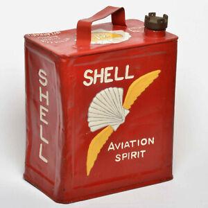 Vintage 1938 Genuine Shell AVIATION SPIRIT 2gallon petrol CAN &BrassCap Man Cave