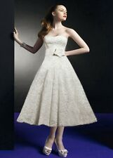 Vintage White/Ivory Lace Tea Length Sweetheart Wedding dress Size6-8-10-12-14-18