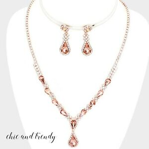 PRINCESS STYLE PINK & CLEAR CRYSTAL ROSE GOLD FORMAL NECKLACE JEWELRY SET