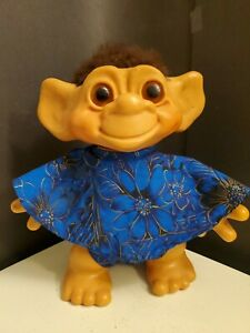 """Vintage 1964 DAM THINGS 11"""" Iggy Normous Troll Doll Amber Eyes Brown Hair  A"""