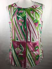 New With Tags Talbots Women's Size 8 Blouse Floral Stripes Sleeveless 100%Cotton
