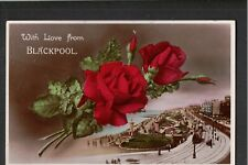 L@@K  With Love From Blackpool 1933 Postcard ~ RED ROSES