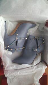 Valentino NIB $1375 rockstud pointy toe booties boots shoes dusty blue EU 37