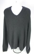 Louis Vuitton 100% Cashmere Black Thick V-Neck Knit Sweater XL