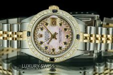 Rolex Lady Datejust 6917 Two-Tone 26mm Pink MOP Sapphire Dial Diamond Bezel
