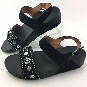 Fitflop Lulu Aztek Stud Black Suede Back Strap Sandal S Shoes Womens Size 9