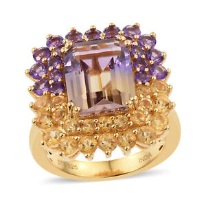Halo Ring 925 Sterling Silver Yellow Gold Over Ametrine Amethyst Size 6 Ct 6.3