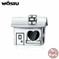 Wostu European 925 Silver Home Charm Beads With Enamel Fit Bracelet Chain Gifts