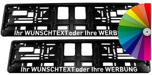 2 Kennzeichenhalter mit WUNSCHTEXT Nummernschildhalter Spruch Beschriftung VU