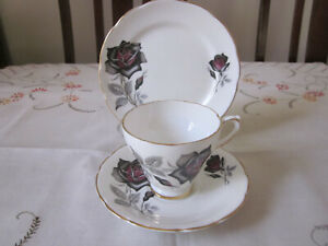 STRIKING DELPHINE BLACK & MULBERRY ROSE FINE BONE CHINA TRIO