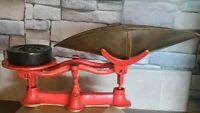 Vintage ~ Cast Iron ~ Orange ~ Counter Balance Scale ~ 2# Weight ~ Tin Scoop