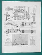 PHYSICS Water Mill Book Press Telegraph Canal Locks Diving - 1828 Antique Print