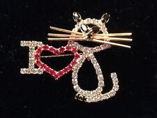 New I Love Cats Crystal Pin