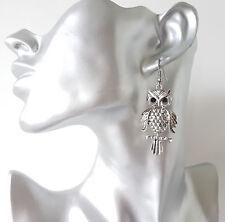 Splendido 5 CM lungo Argento Tono & Diamante Orecchini Pendenti Gufo Design