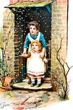 Baby FIRST SNOW FLAKES 1900 De Wolfe Matted Art Print Antique Chromolithograph