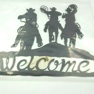 Western Cowboy Horse Roping Welcome Sign High Country By Dennis East Metal Brown