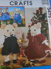 """McCall's Crafts 3475 Mouse Mice Dolls & clothing Pattern UNCUT 8 &10"""" Uncut FF"""
