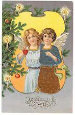 FANTAISIE NOEL carte postale ancienne gaufrée deux anges sapin Joyeux Noel