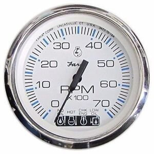 Johnson Evinrude Tachometer/SystemCheck Gauge Faria 33850 Chesapeake S.S. White