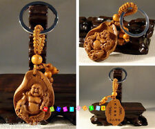 Collectable Chinese Classical handwork wood carving Keyring Lotus Buddha