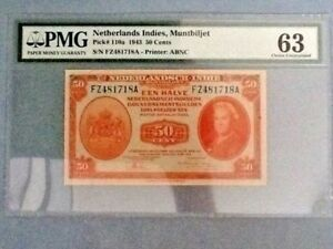 Netherlands Indies P-110-A; 50 Cents; 1943; PMG Graded 63 - Minor Discoloration