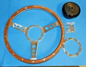"""New 14"""" Laminated Wood Steering Wheel & Hub Adaptor Sunbeam Alpine Tiger  Light"""