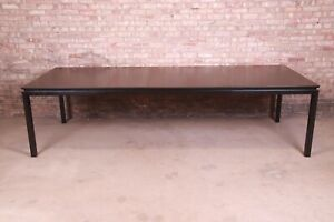 Edward Wormley for Dunbar Black Lacquered Extension Dining Table