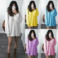 Women Warm Winter Solid O-Neck Loose Knitted Sweater Long Latern Sleeve BlouseCA