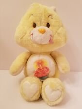 Vintage 1983 Kenner Care Bear Birthday Plush Yellow w/Blue Pink Cupcake Candle