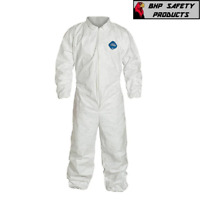 DUPONT TY125S WHITE TYVEK COVERALL WITH ELASTIC WRIST AND ANKLES (SIZES L-3XL)