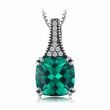 8mm Bright Square Emerald Pendant Necklace Solid Sterling Silver Special Gift