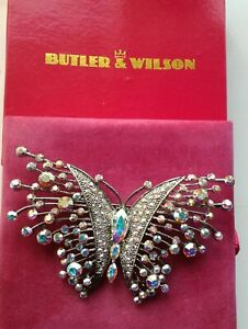 Butler & Wilson Crystal Butterfly Brooch Large New Boxed
