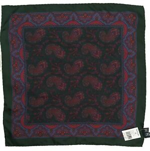 NEW VINTAGE 2004 Ralph Lauren Silk Pocket Square!  Paisley  Italy   *2 Colors*
