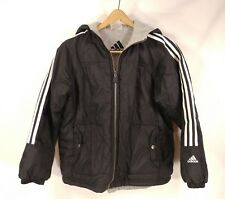 ADIDAS Youth Reversible Black White Gray Coat Jacket Hoodie Kids (M) Medium
