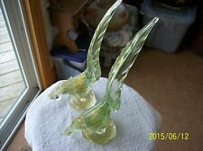 Murano Venetian Mid Century Rare Pair of Gold Fleck Pheasant Tailed Roosters