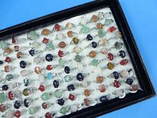 *US Seller*10 rings wholesale jewelry lot genuine agate stone and gemstone rings