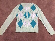 NWT Womens New York & Company Mint Green Blue Argyle Cardigan Sweater Sz Medium