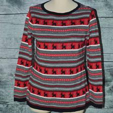 Karen Scott Women's Sweater Dog Animal Prinst Crewneck Red White Black Knit