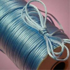 10yd blue 2mm Satin Rattail Trim Macrame Beading Nylon DIY String Cord/7.38912