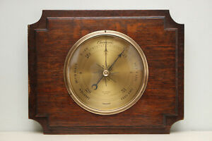 Antique Wall Barometer in Dark Oak with Brass Dial, by JOHN CHALMERS, GLASGOW