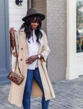 Cappotti e giacche da donna beige lunghezza al ginocchio in cotone