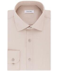 Calvin Klein Steel Mens Regular-Fit Herringbone Dress Shirt Beige 16.5 34/35 $85