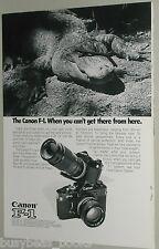 1974 Canon Camera ad, Canon F-1, alligator
