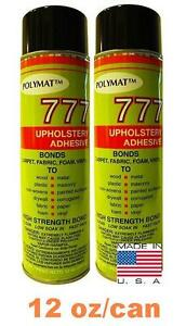 2 CANS 777 Polymat FOAM & FABRIC LINER BOX CARPET UPHOLSTERY SPRAY GLUE ADHESIVE
