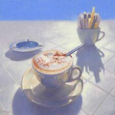 """BELLISSIMO ORIGINALE Mark Harrison """"Cappuccino al fresco"""" caffè CAFE pittura ad olio"""