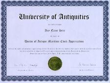 Doctor Antique Maritime Clock Appreciation Diploma
