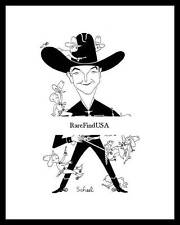 1950-rpt TED SCHEEL Cowboy WILLIAM BOYD HOPALONG CASSIDY Actor Caricature MATTED