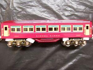 Lionel Corporation MTH Tinplate # 1685 Passenger Car  Vermillion/Maroon  O gauge