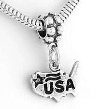 STERLING SILVER DANGLING BEAD USA MAP EUROPEAN BEAD